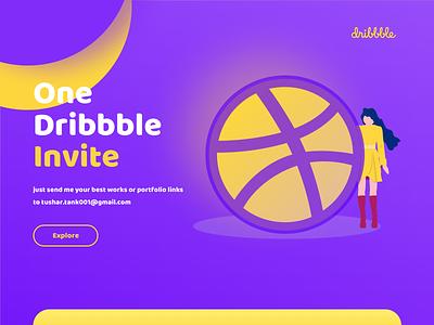 Dribbble Invite Giveaway one invite design web tushit typography vector ui