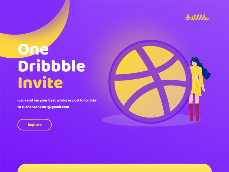 Dribbble Invite Giveaway one invite design web tushit typography vector ui