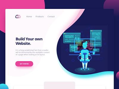 Landing Page (WP) vector typography website web tushit illustration ux ui