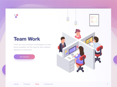 Team Work ux typography icon clean website landing design web illustration tushit ui
