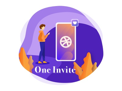 Dribbble Invite Giveaway invite one vector typography website design blue illustration tushit ui