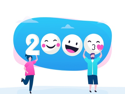 2000 Followers, Thank you! design illustration ui 2bit tushit thanks followers 2k 2000