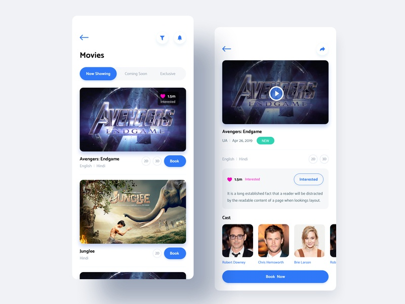 Movie App Screens typography tushit vector clean design blue mobile ux ui ios movie app movie