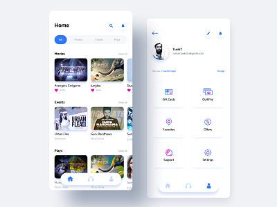Home | Profile UI vector branding ios app clean mobile blue design tushit ux ui