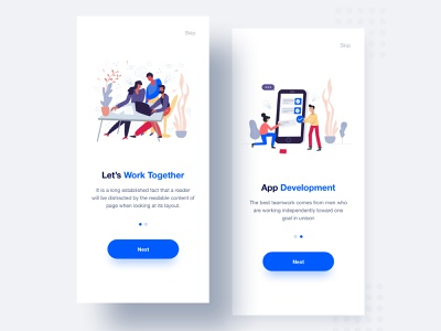 Mobile App UI vector clean typography ios app mobile blue design illustration tushit ux ui