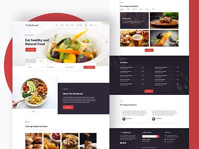 Restorant Home Page flat typography vector logo website clean landing web design tushit ux ui