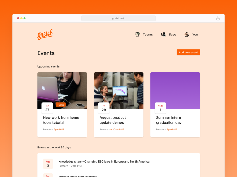 Gretel - Company Events events app gretel events ui web app