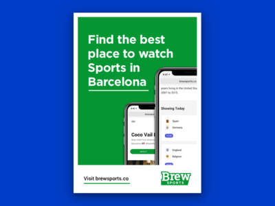 Flyer for Brew Sports - Barcelona barcelona startup sports app flyer