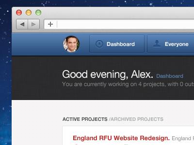 Admin header ui web app preview