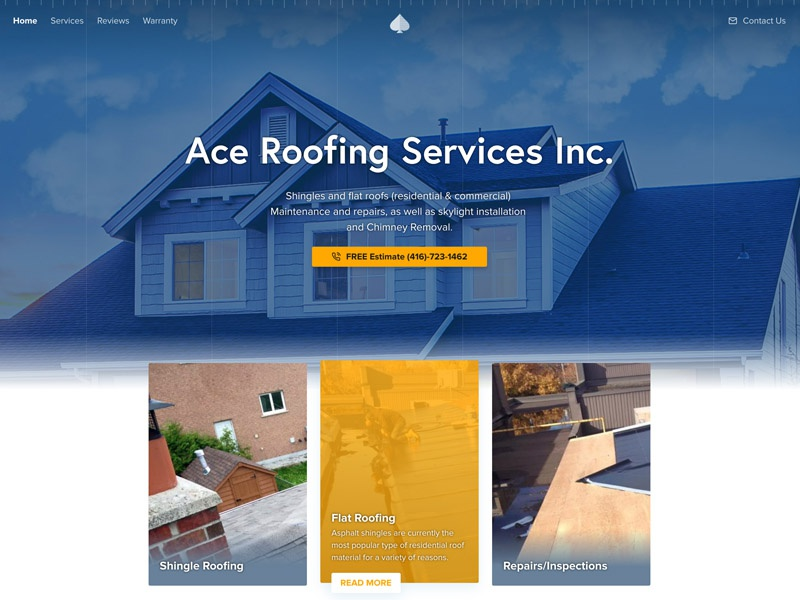 Ace Roofing Services Inc. construction industrial roofing ace wordpress website ui landing