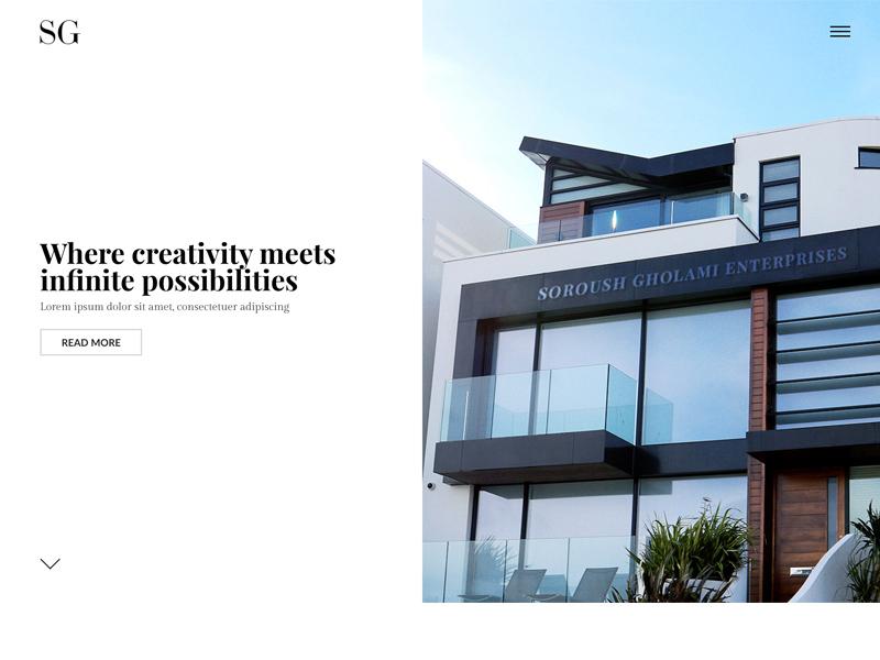 Soroush Gholami Enterprises react web elegant simple modern landing page landing design