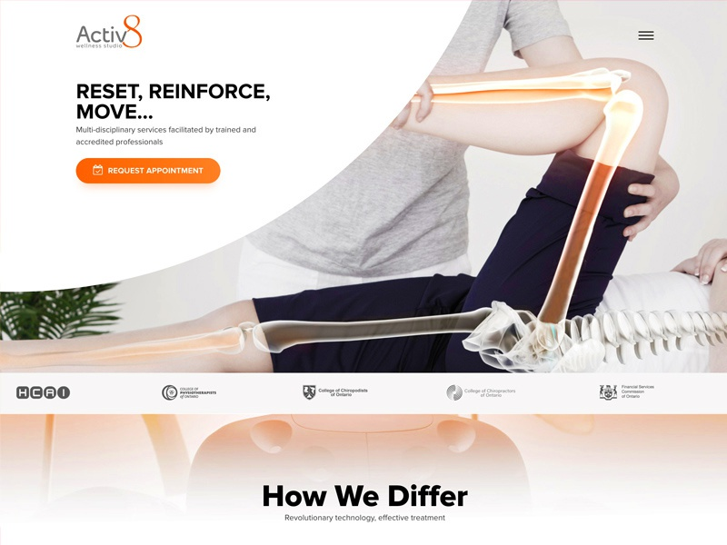 Activ8 Wellness Studio Website health wellness design landing landing page modern simple elegant web react