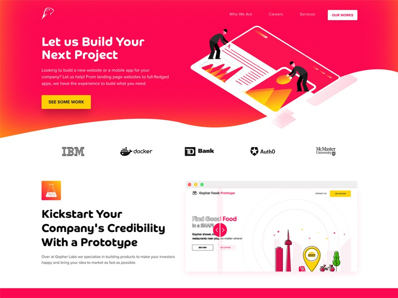 Gopher Labs Website tech react web elegant simple modern landing page landing design wellness health