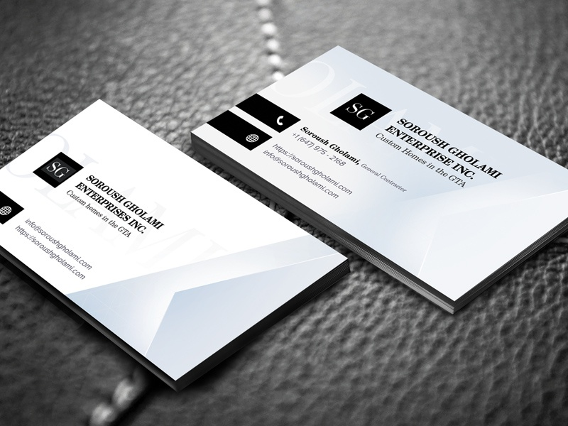 Soroush Gholami Enterprise - Business Cards builders construction renovations homes classy modern elegant business cards