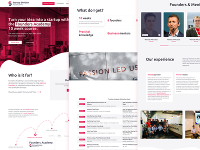 Startup Division — Founders Academy mentoring course venture landing page landing website web ui client work startup