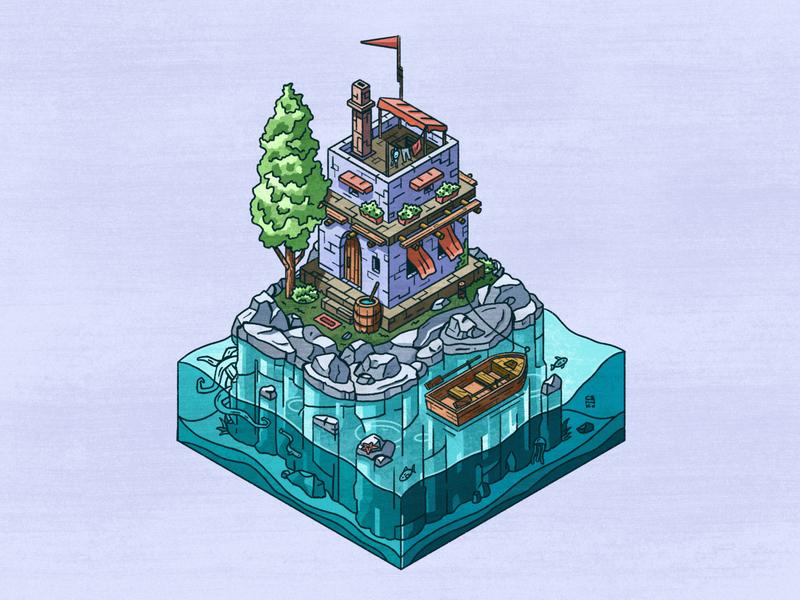 🏝 Islet boat island house isometric isometry procreate illustration senko