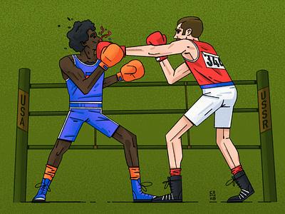 🥊 Match olympic ring illustraion character athlete boxing lemeshev senko