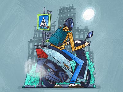 🛵 On a moped moto biker teenager street city moped illustration senko