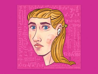 🙍♀Woman portrait love teacher drawing rebus math woman illustration senko