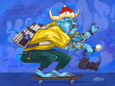 🐮 Bull skateboard street speed graffiti zoo bull animal senko illustration