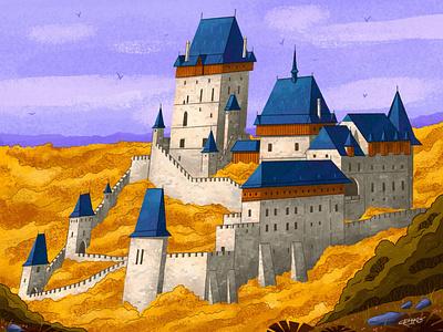 🏰 Karlstejn castle texture nature drawing prague autumn castle illustration senko