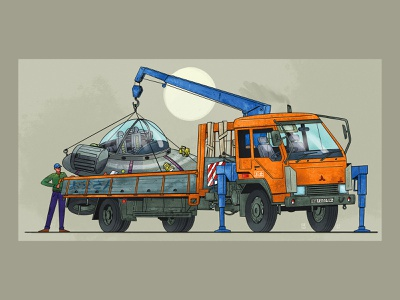 ⚙️ Loading design shipment drawing illustraion ufo senko truck rickandmorty