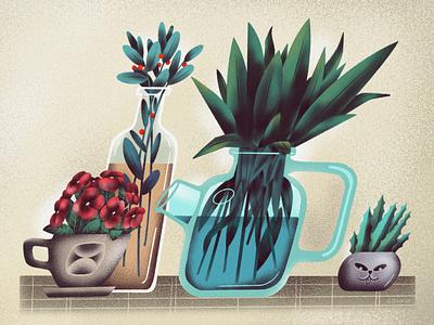 🌿 Visiting Martha leaf cat illustration nature flowers bottle plant senko