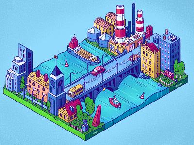 Don't confuse the coasts! ship river factory bridge buildings isomertic city senko