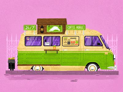 Сoffee truck №2 happy cup mobile car truck coffee illustration senko