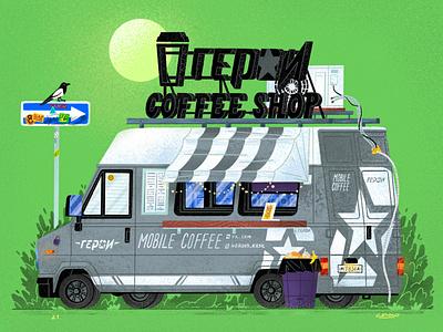 Сoffee truck №3 hero bird bush van coffee truck illustration senko