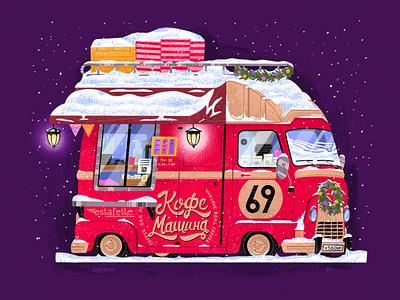 Сoffee truck №4 red car christmas winter truck coffee illustration senko