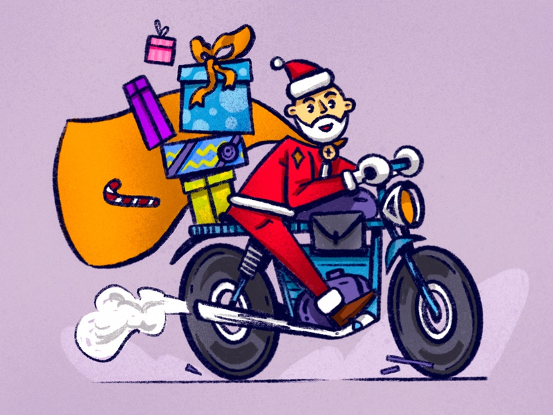 🎅  Holidays are coming!! illustration design presents holidays motorcycle santa claus procreate senko