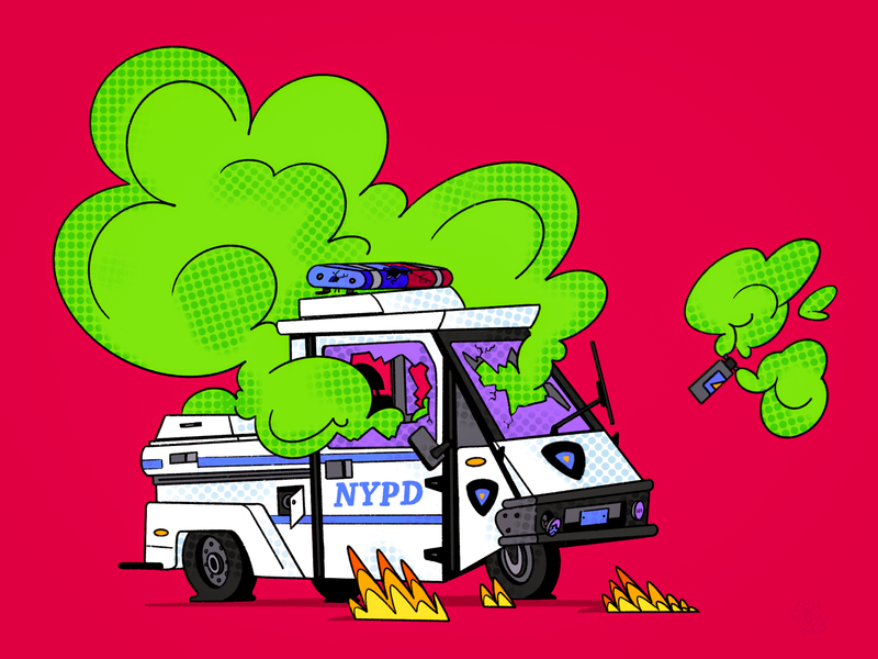 🚔 Welter cops №2 timelapse destroy police three wheels scooter car procreate illustration