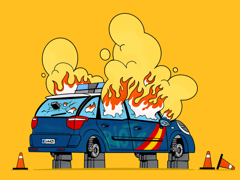 🔥 Welter cops №3 fire yellow spain procreate timelapse illustration police car