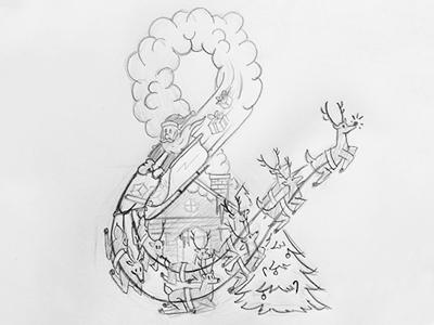 Ampersanta ampersanta ampersand santa santa clause st nick christmas sketch hand drawn doodle concept reindeer sleigh