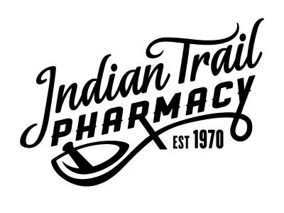 Indian Trail Pharmacy Logo WIP logo lettering ranger cyclone pharmacy apothecary mortar pestle