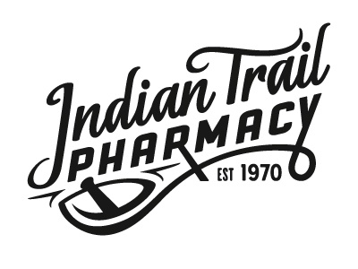 Indian Trail Pharmacy Logo WIP logo lettering pharmacy apothecary mortar pestle nc indian trail