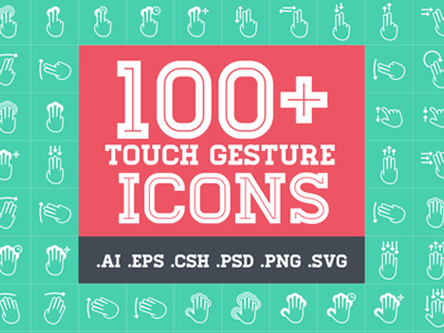 Touch Gestures Icon Set line icon icon set gesture icons touch icons touch tap double tap press hold swipe drag homestead