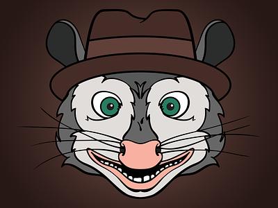 Billy Possum possum opossum illustration headshot fedora nightmare inducing