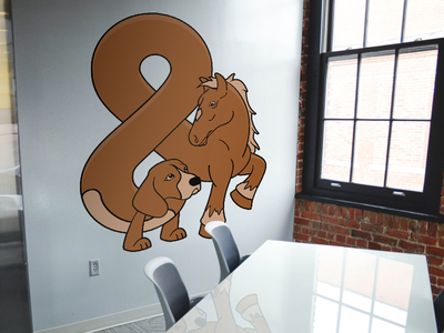 Dog And Pony Wall Graphic dog and pony sticker mule stickermule wall graphic ampersand