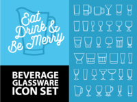 Beverage Glassware Icon set