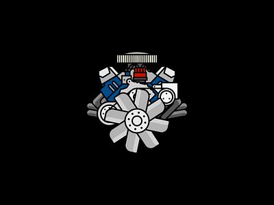 Motor illustration line v8 headers muscle car car vroom hotrod ford big block engine motor