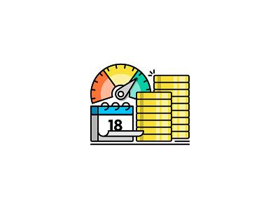 Investing Advice gauge calendar coins mono brokerage investing finance money illustration