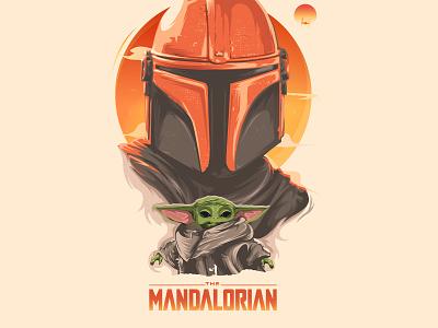 The Mandalorian Poster tv show tv keyart graphic design vector illustration baby yoda jedi film movie poster movie art poster starwars mandalorian