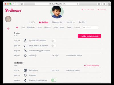 Birdhouse for Autism UI Redesign ui interface app webapp minimal redesign screenshot