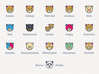 Beariations on a Theme panda iconset icons mood moods illustration bears