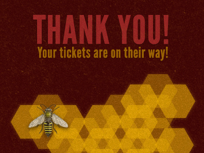 Bee Thanks website grunge noise honeycomb bee confirmation page