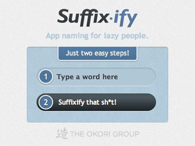 Suffixify web app ui blue fun project