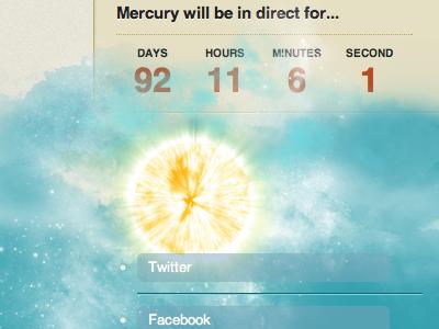 Mercury Direct web countdown timer horoscope