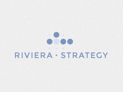And a pivot... to Riviera Strategy blue logo montserrat logotype grid dots